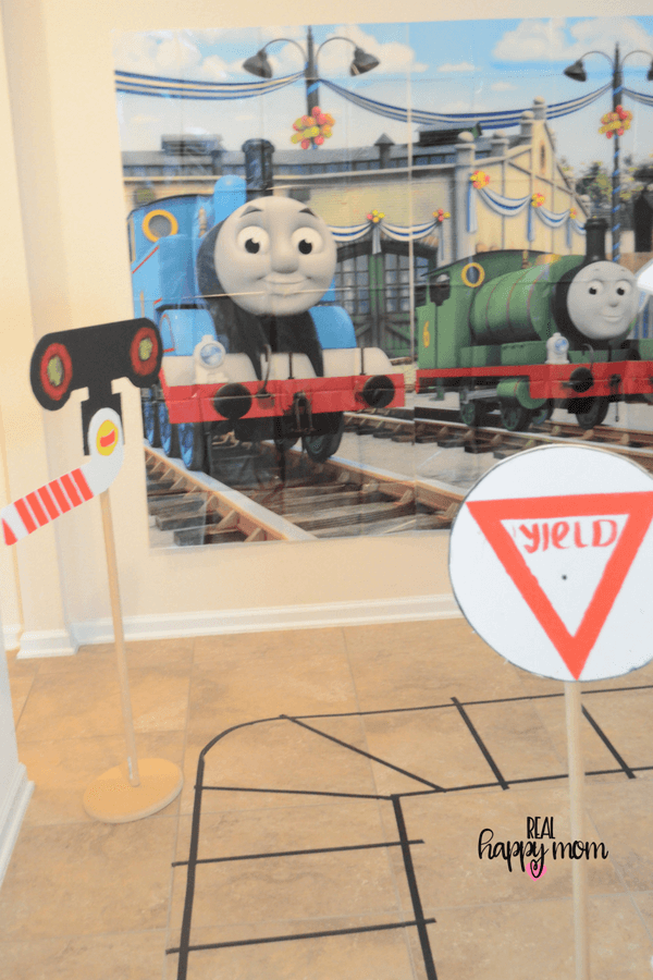 Thomas the train theme birthday party backdrop