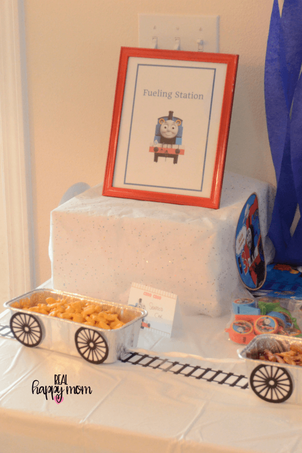 Thomas the train theme birthday party food table