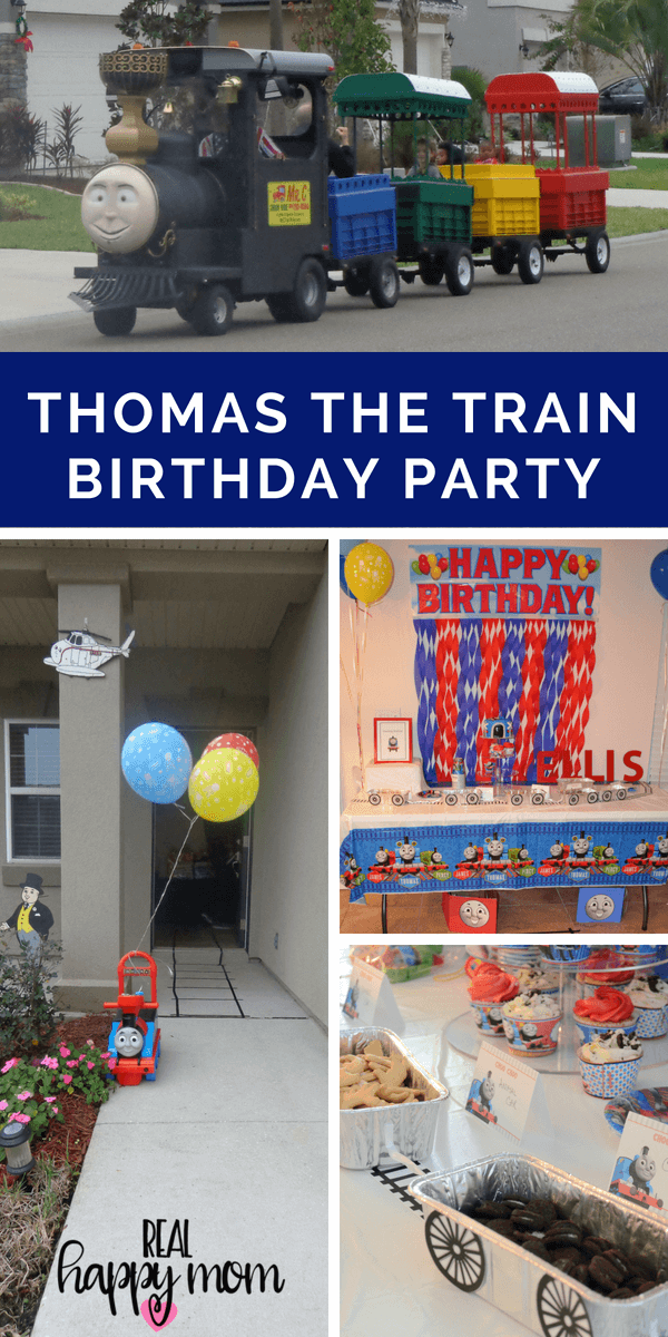 Thomas the train theme birthday party ideas, cake and food.