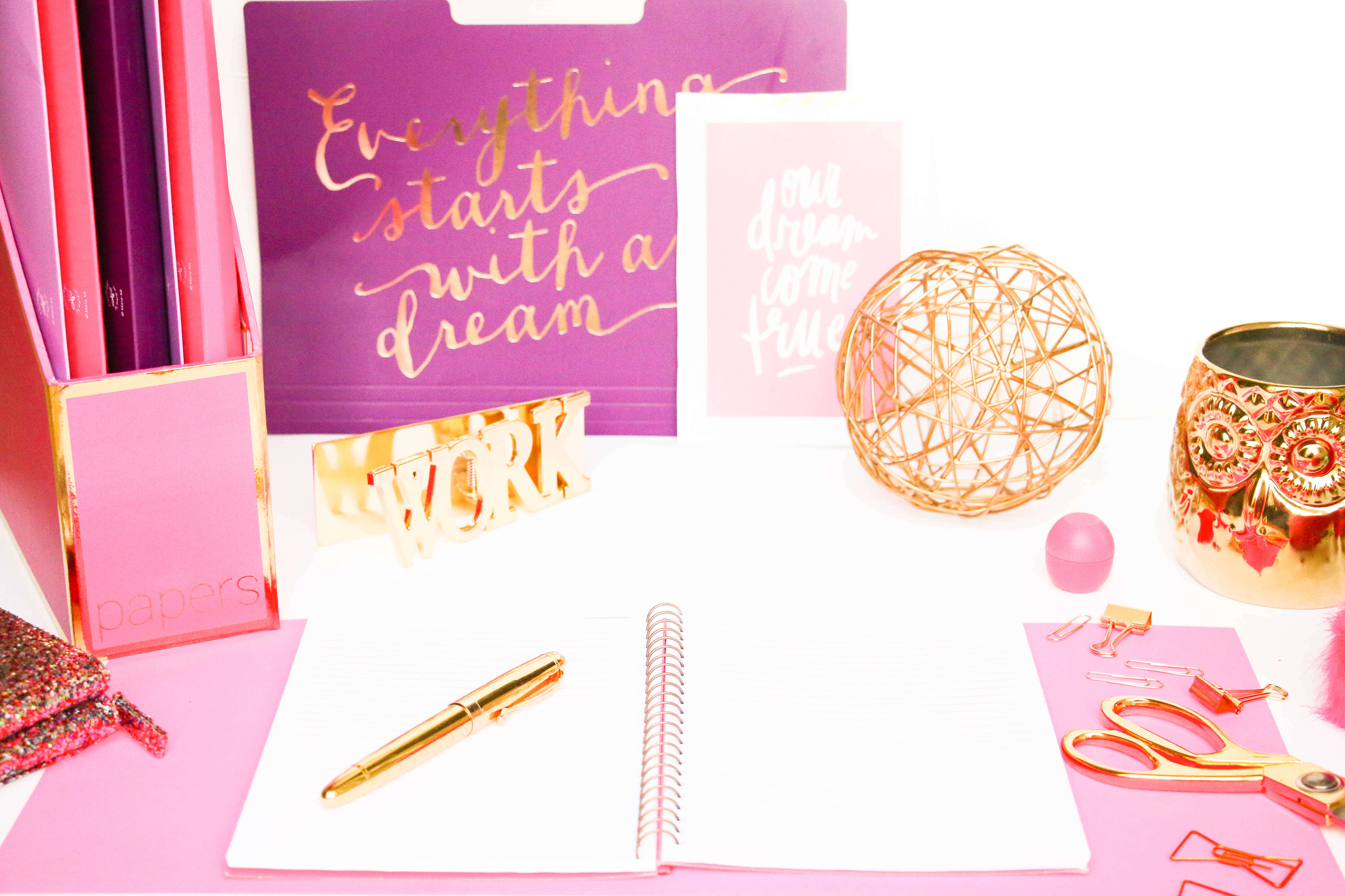 flatlay photo with notebook, pen, ball, work, folder, dreams to reality