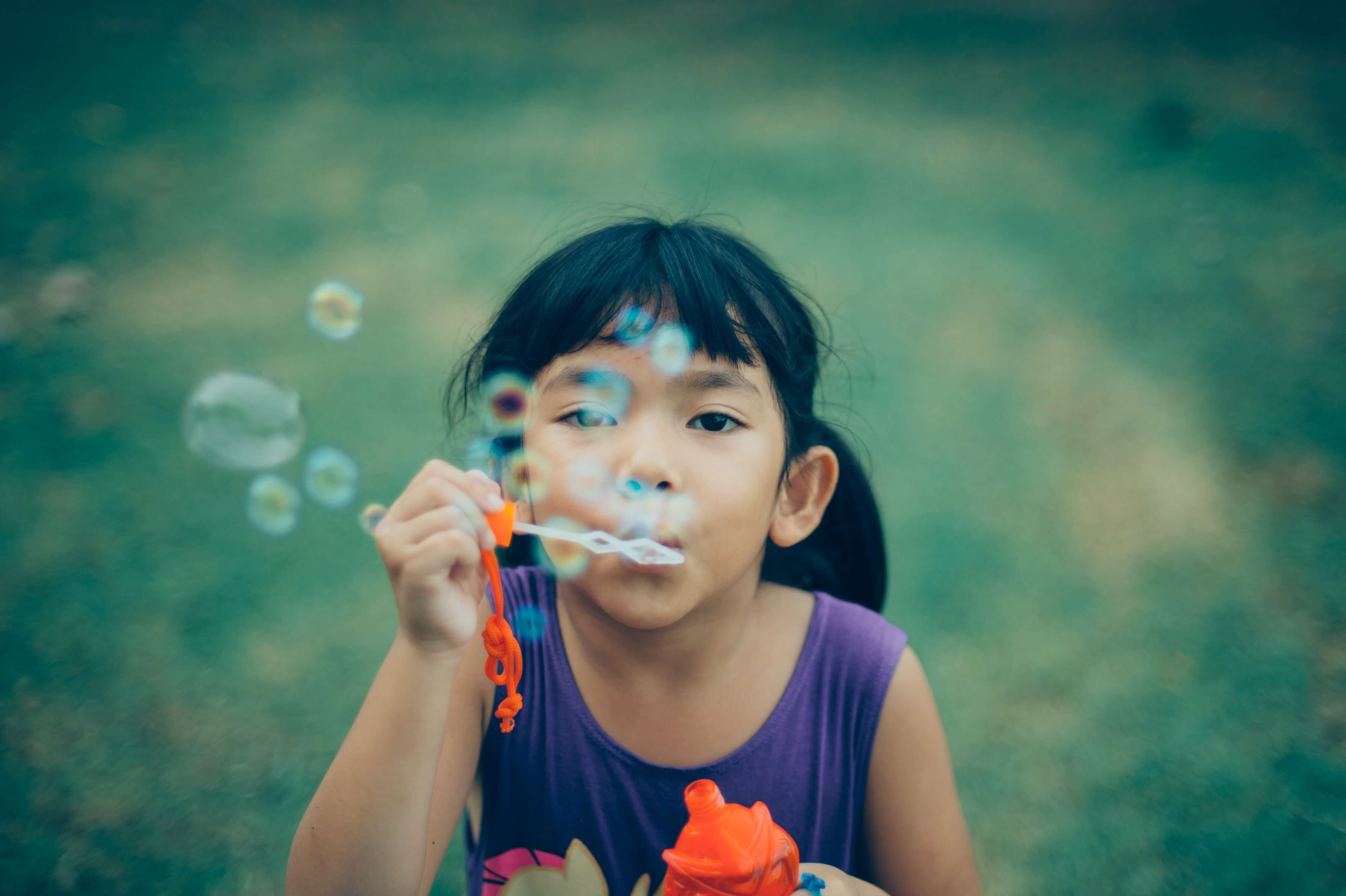 girl blowing bubbles, activities for last days of summer